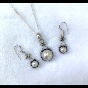 Pearl 925 Silver Necklace & Earring Set NWT